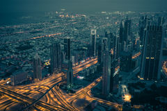 Dubai downtown night scene with city lights Stock Images