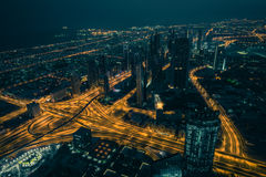 Dubai downtown night scene with city lights Stock Photos