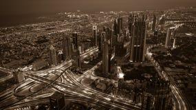 Dubai downtown night scene with city lights. Top view Stock Image
