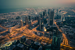 Dubai downtown night scene with city lights Royalty Free Stock Images