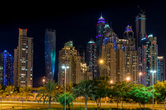 Dubai downtown night scene, Dubai Marina. Royalty Free Stock Photos