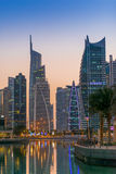 Dubai downtown night scene, Jumeirah Lake Towers Royalty Free Stock Images