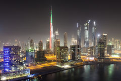 Dubai downtown at night Royalty Free Stock Image