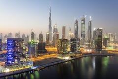 Dubai downtown at night Royalty Free Stock Photography