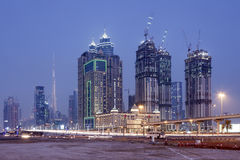 Dubai Downtown at Night Royalty Free Stock Images