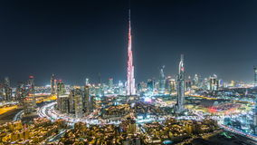Dubai Downtown at night timelapse view from the top in Dubai, United Arab Emirates stock video