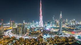 Dubai Downtown at night timelapse view from the top in Dubai, United Arab Emirates stock footage