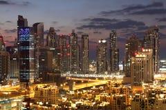 Dubai Downtown at night Stock Images