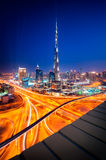Dubai downtown skyline, Dubai, United Arab Emirates. Amazing night dubai downtown skyline, Dubai, United Arab Emirates Stock Photos