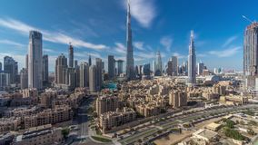 Dubai Downtown skyline timelapse with Burj Khalifa and other towers paniramic view from the top in Dubai