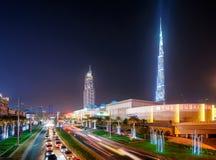 Dubai downtown with skyscrapers and biggest shop Dubai Mall, Dubai, United Arab Emirates Royalty Free Stock Photos