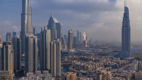 Dubai Downtown at sunrise timelapse. Aerial view over big futuristic city. Dobai Downtown at sunrise timelapse. Aerial view over big futuristic city stock footage