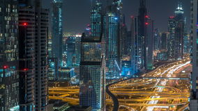Dubai Downtown timelapse top view at night as shot from a rooftop viewpoint. Dubai, UAE stock footage