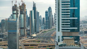 Dubai Downtown timelapse top view before sunset as shot from a rooftop viewpoint. Dubai, UAE stock video footage