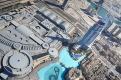 Dubai downtown, view from Burj Khalifa, UAE Stock Images