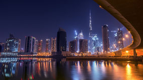 Dubai downtown viewed under the bridge Royalty Free Stock Images