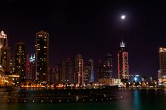 Dubai Dowtown at ngiht, United Arab Emirates Stock Photo
