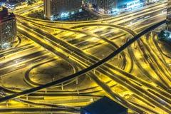 Dubai Dowtown no ngiht, Emiratos Árabes Unidos Fotografia de Stock