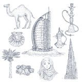 Dubai Drawn Elements Set Royalty Free Stock Photos