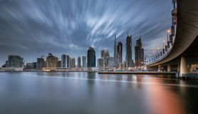 Dubai. Downtown skyline on a cloudy evening Royalty Free Stock Photography