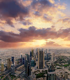 Dubai early morning aerial cityscape Stock Images
