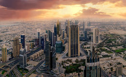 Dubai early morning aerial cityscape Royalty Free Stock Photography