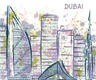 dubai El paisaje urbano abstracto con salpica en estilo de la acuarela stock de ilustración