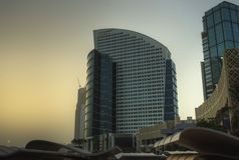 Dubai (Emiräte) - Eindrücke, Geschichte, Grenzsteine Lizenzfreies Stockfoto