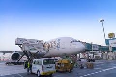 DUBAI, EMIRATOS ÁRABES UNIDOS - 11 de abril de 2018 - linhas aéreas A do emirado Imagens de Stock Royalty Free