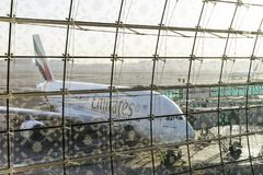 DUBAI, EMIRATOS ÁRABES UNIDOS - 11 de abril de 2018 - linhas aéreas A do emirado Fotografia de Stock