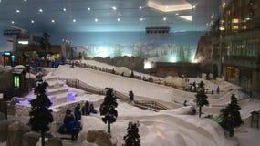 DUBAI, EMIRATOS ÁRABES UNIDOS - 30 de março de 2014: Esqui alpino em Dubai Ski Dubai é uma estância de esqui interna com 22.500 Fotos de Stock Royalty Free