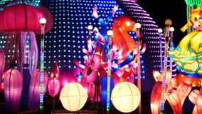 DUBAI, EMIRATOS ÁRABES UNIDOS, UAE - 20 DE NOVEMBRO DE 2017: Parque do fulgor do jardim de Dubai iluminado na noite vídeos de arquivo