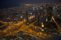 Dubai en la noche Foto de archivo libre de regalías