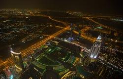 Dubai en la noche Fotos de archivo libres de regalías