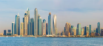 Dubai - The evening panorama of Marina towers Royalty Free Stock Images