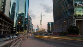 Dubai för trafikaffärsfjärd timelapse lager videofilmer