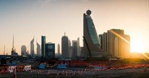 Dubai Förenade Arabemiraten, Februari 11, 2018: Dubai ny stad p Fotografering för Bildbyråer