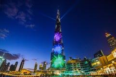 DUBAI FÖRENADE ARABEMIRATEN - 05 Januari, 2018: Burj Khalifa torn Denna skyskrapa är den mest högväxta konstgjorda strukturen Arkivbilder