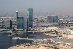 Dubai Festival City mall aerial view photography. UAE Royalty Free Stock Image