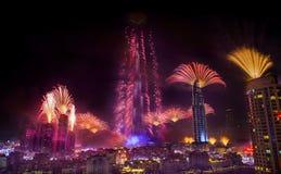 Dubai-Feuerwerke Stockbild