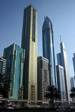 Dubai financial district. Skyscrapers of financial and business district of Dubai, United Arab Emirates Stock Image