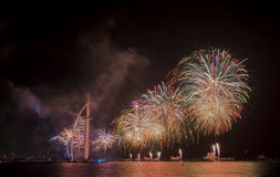 Dubai fireworks for national day Stock Photo