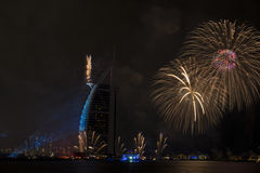 Dubai fireworks for national day Royalty Free Stock Photography