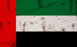Dubai Flag On Grunge Wall Background Stock Image