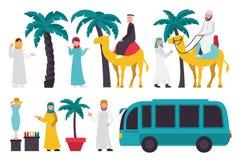 Dubai flat set.  On White Background, People Vector Illustration Royalty Free Stock Image