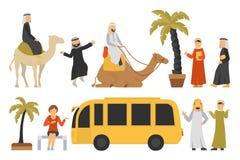 Dubai flat set.  On White Background, People Vector Illustration Stock Images