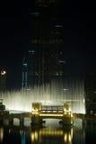 dubai fontanny noc obrazy stock
