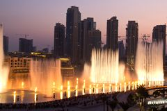 Dubai fountain. Worlds largest musical water fountain Royalty Free Stock Image