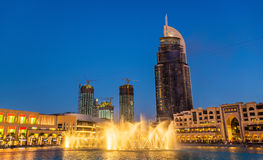 Dubai Fountain and Address Hotel after a fire accident. DUBAI, UAE - JANUARY 1: Dubai Fountain and Address Hotel after a fire accident in Dubai on January 1 Stock Photography