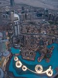 Dubai Fountain as seen from Burj Khalifa, Dubai United Arab Emirates royalty free stock photography